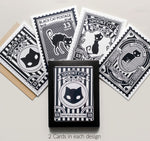 Spooky Black Cat Postage Greeting Card