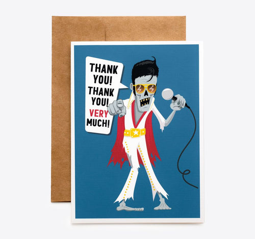 Spooky Cat Zombie Thank You Card - Zombie Elvis