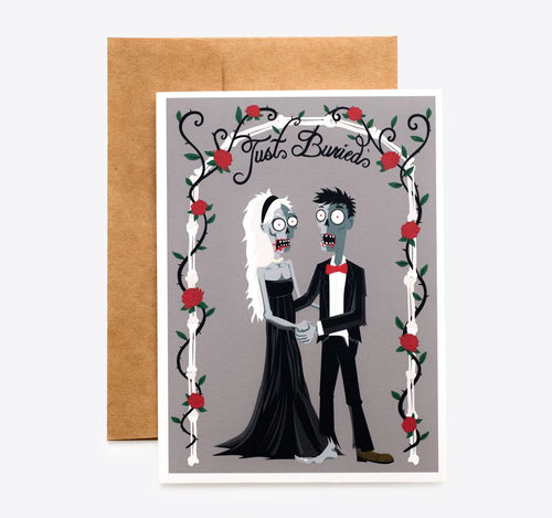 Spooky Cat Zombie Wedding Card - Just Buried Couple