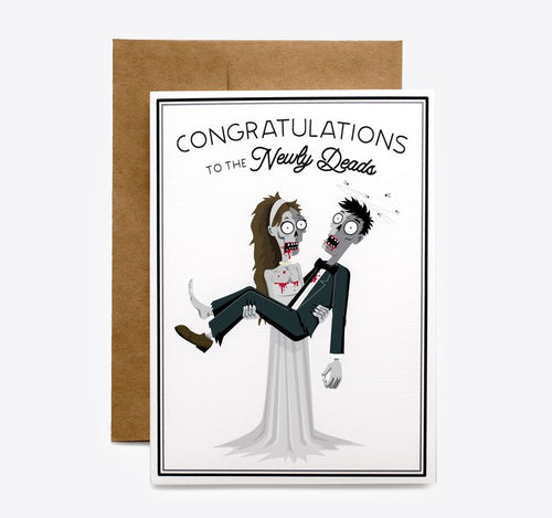 Spooky Cat Zombie Wedding Card - Newly Deads