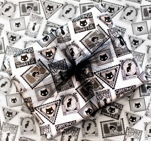 Wrapping Paper - Beautiful wrapped gift with Black Cat Vintage Stamps Paper