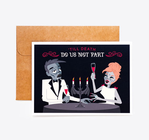 Spooky Cat Romantic Card - Till Death Do Us Not Part