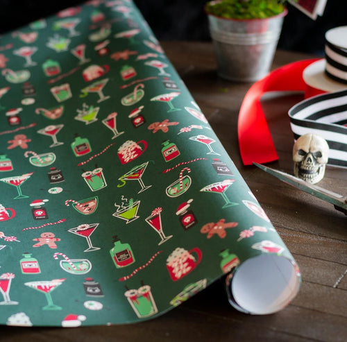 Spooky Cat Gothic Christmas gift wrap