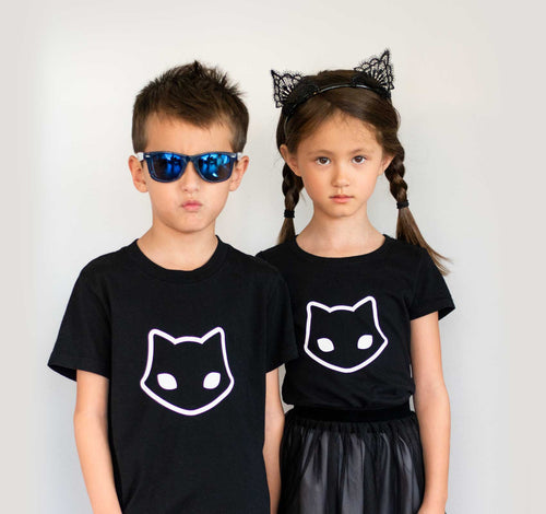 Spooky Cat Nu Goth Kids Black Cat Icon T Shirt