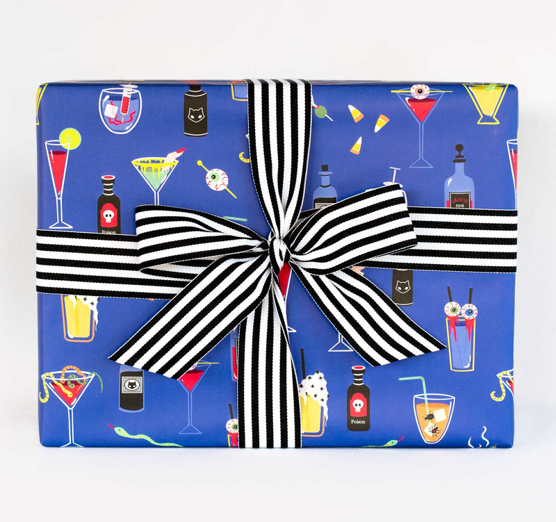 Wrapping Paper - Beautiful wrapped gift with Ghoulish Cocktails Paper