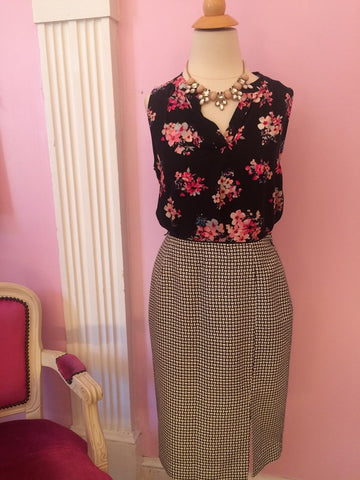 Floral Blouse with Pencil Skirt