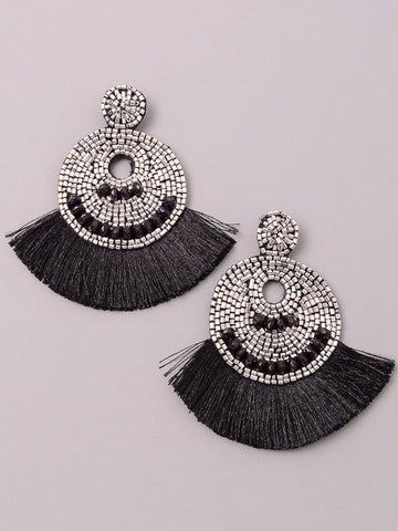 Beaded Tassel Trim Statement Earrings