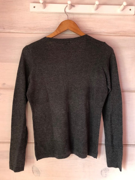 Ann Taylor Grey Scoop Neck Sweater, size S