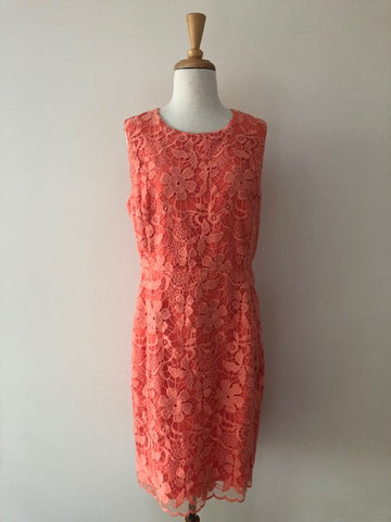 Belle Badgley Mischka Coral Lace Dress, size 12