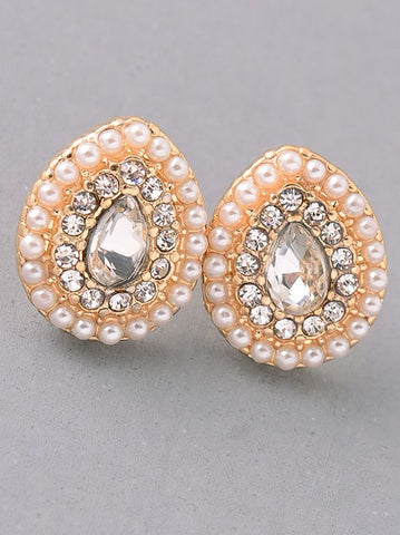 Pearl and Stone Stud Earrings