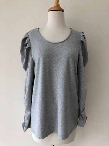 Anthropolgie Drew Grey Ruched Sleeve Top, size M