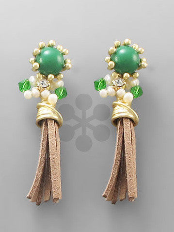 Bead & Suede Tassel Earrings