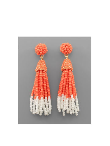 Two-Tone Bead Tassel Earrings