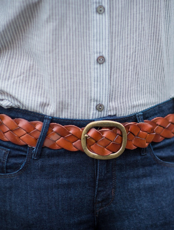 Nina Braided Leather Belt