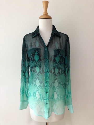 Equipment Ombre Green Silk Blouse, size XS