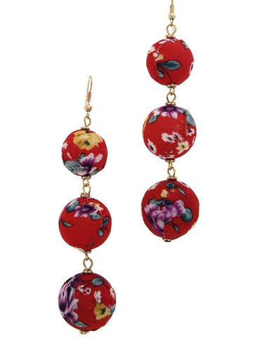 Floral Triple Ball Earrings