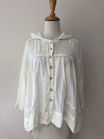 Free People Linen/Cotton Hooded Top, size S