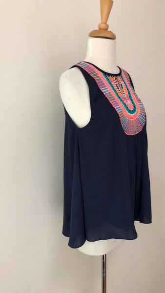 Ranna Gill Atoll Embroidered Sleeveless Top, size XS