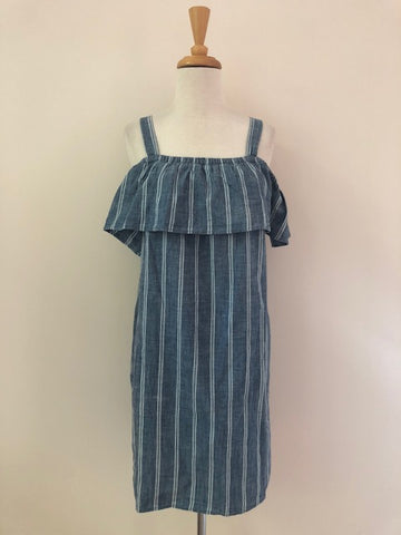J.Crew Stripe Chambray Ruffle Neck Dress w/ Tags, size M