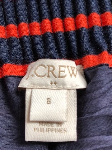 J.Crew Navy/Orange Stripe Sidewalk Skirt
