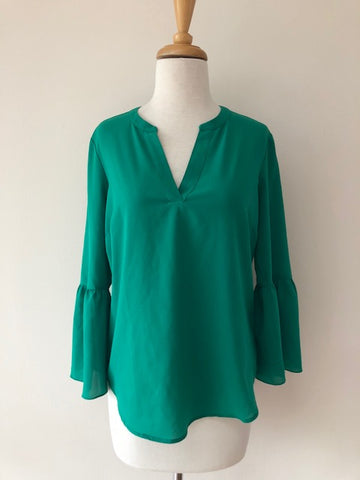 J. Crew Green Bell Sleeve Top, size XS