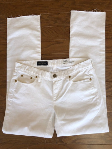 J.Crew Raw-Edge Matchstick White Jeans, size 29
