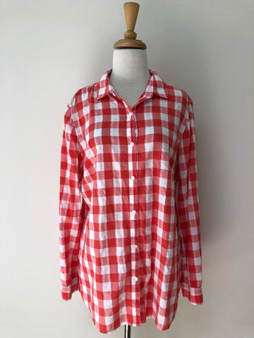 J.McLaughlin Red Check Button Down Shirt, size L