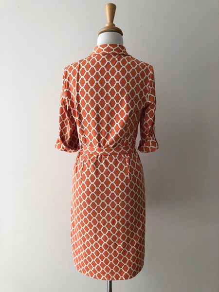 J. McLaughlin Orange Trellis Print Belted Dress, size XS