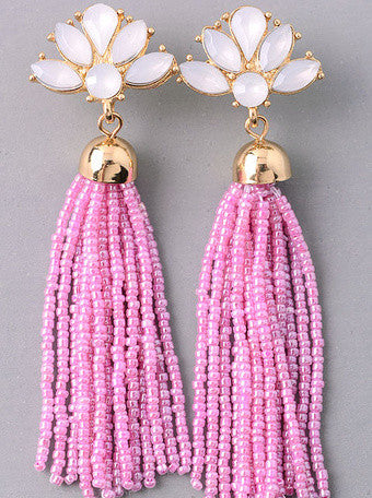 Jeweled Floral Tassel Earrings