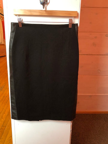 Les Copains Black Pencil Skirt w/ Leather Side Panels