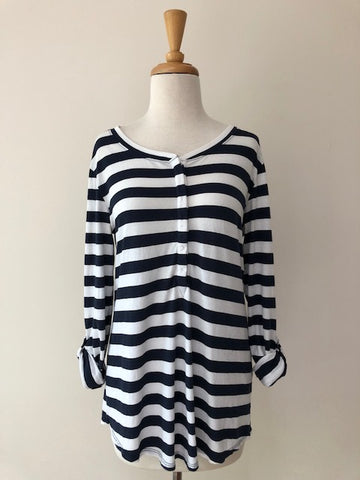 Lilla P Navy Stripe Top, size M