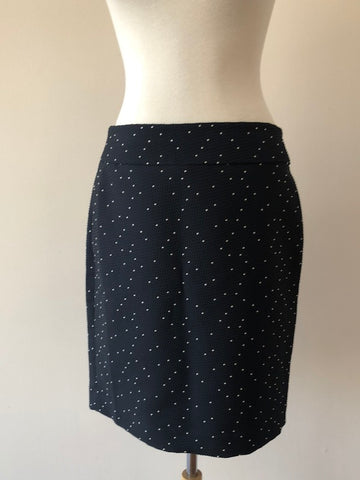 Ann Taylor Navy/White Polka Dot Skirt, size 6