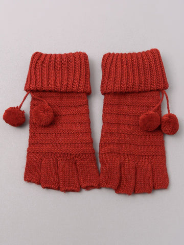 Fingerless Pom Pom Gloves