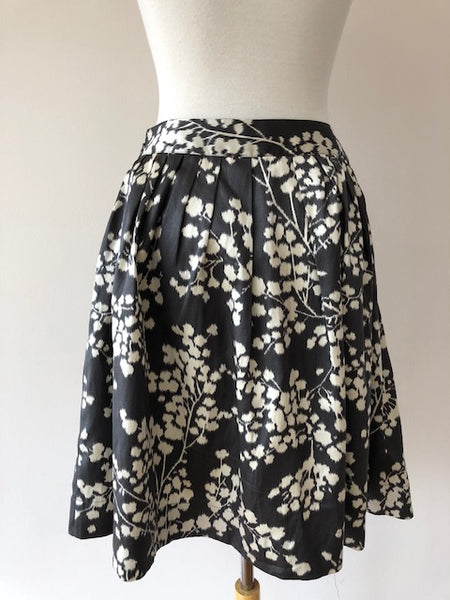 Moulinette Soeurs Grey Print Silk/Cotton Skirt, size 8