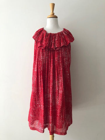 Martin Grant Paris Red Cotton Ruffle Dress, size L