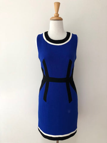 Milly Blue Wool Colorblock Panel Sheath Dress, size 2