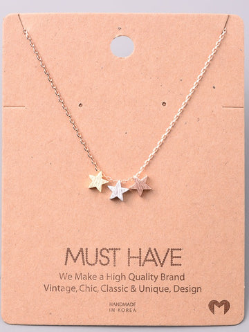 Tri-Color Star Necklace