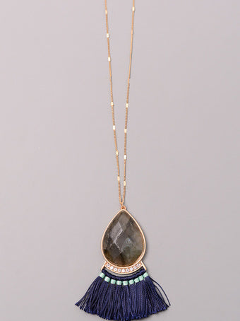 Stone Tassel Combo Necklace