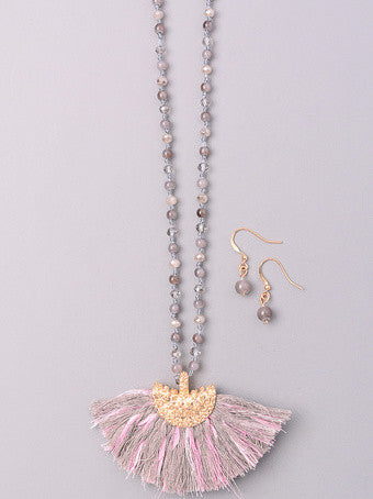 Tassel Fan Bead Necklace