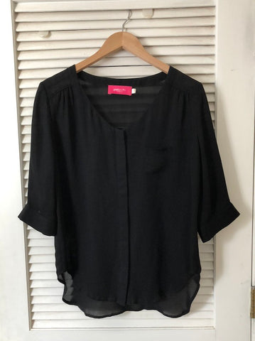 Pinkyotto Black Silk Blouse, size XS