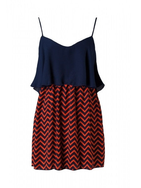 Ruffle Chevron Print Dress