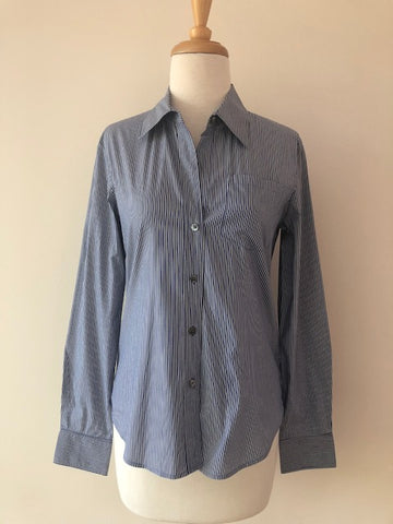 Theory Blue Stripe Button Down Shirt, size S
