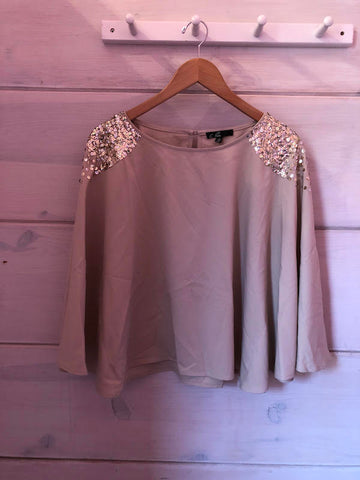 C. Luce Tan Sequin Blouse, size L