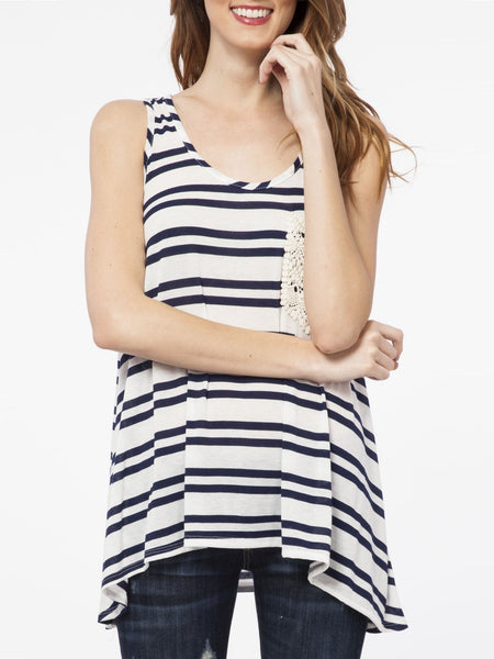 Double Stripe Tank in Navy