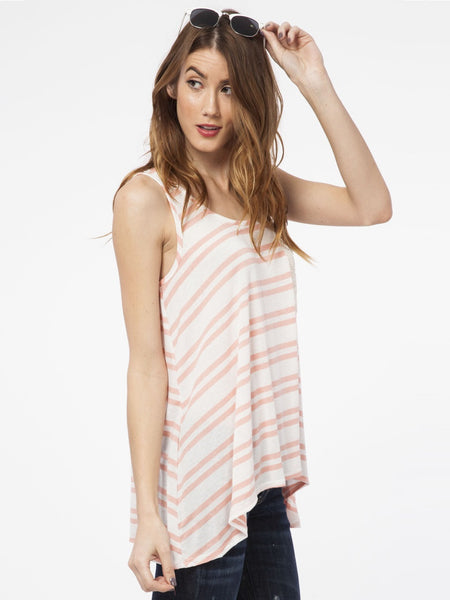 Double Stripe Tank in Pink