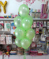 "10"" Metallic Latex Helium Inflated Balloons Light Green Bunch - Funzoop The Party Shop"