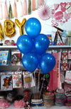 "10"" Metallic Latex Helium Inflated Balloons Blue Bunch - Funzoop The Party Shop"