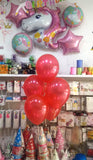 "10"" Metallic Latex Helium Inflated Balloons Red Bunch - Funzoop The Party Shop"