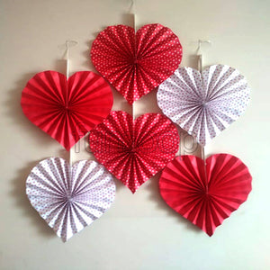 Heart Shaped Party Fans - Red - Funzoop