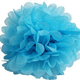 "12"" Tissue Paper Pom Pom - Available in 10 Colors: Black/ Dark Blue/ Dark Pink/ Red/ Golden/ White/ Lime Green/ Orange/ Pink/Purple/ Sky Blue/ Yellow"